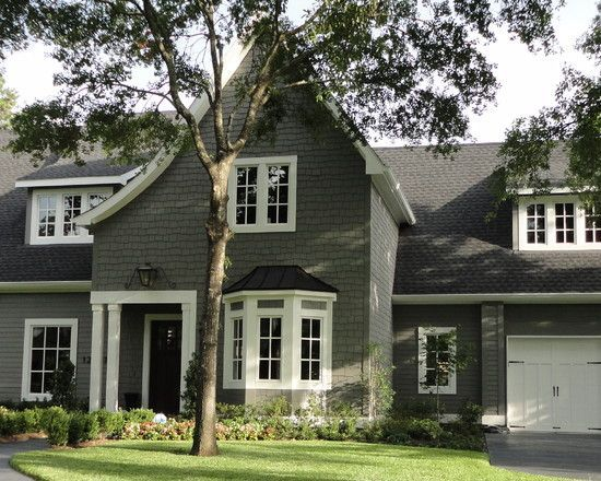 Gray Exterior Paint (Amherst Gray HC Benjamin Moore) With White Trim And  Dark Door