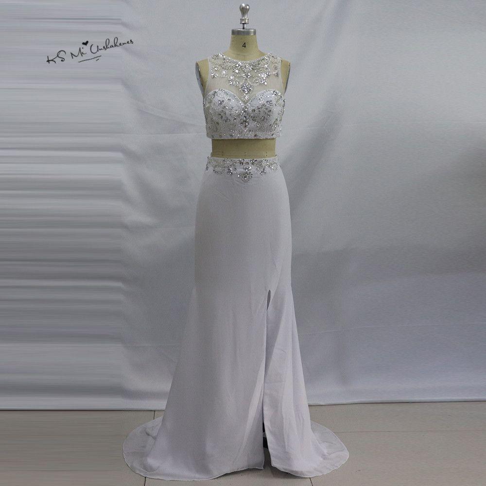 White piece prom dresses long rhinestones vestido de