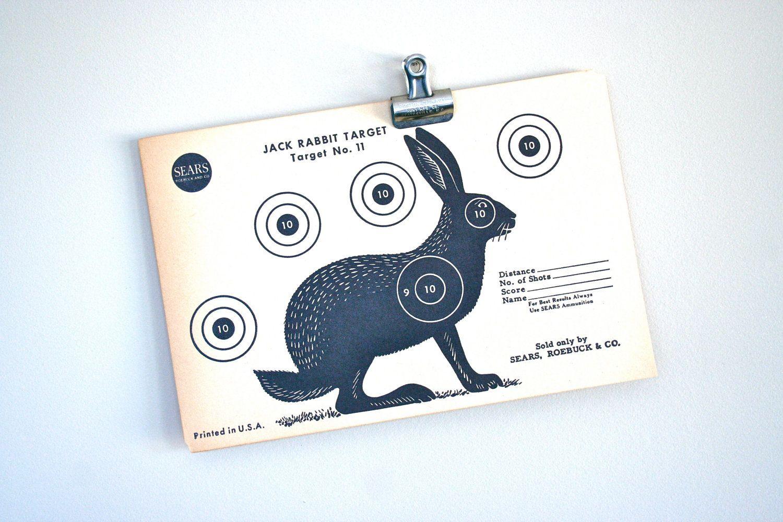 vintage paper shooting target:  jack rabbit. $10.00, via Etsy.