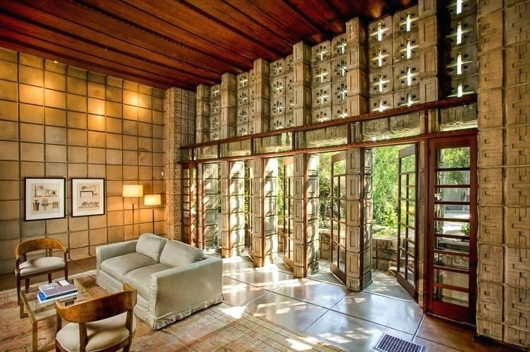 Mid Century Decorative Concrete Screen Block Frank Wright La Living While The Use Of Hollow A Frank Lloyd Wright Homes Ennis House Frank Lloyd Wright Buildings