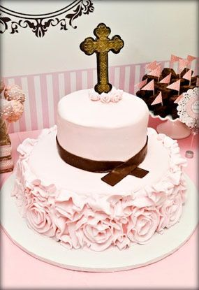 Vintage Feel of Lace for This Pink and Brown Christening Party