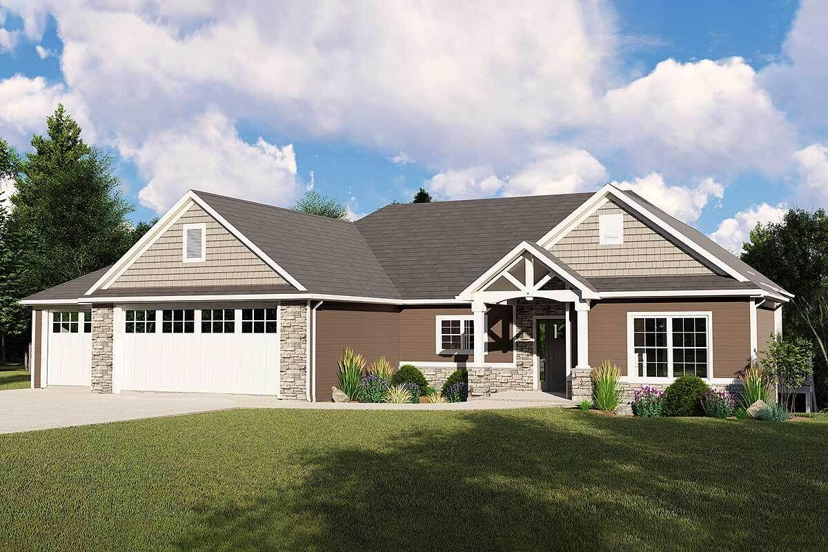 Split Bedroom Craftsman House Plan with a Finished Walkout Basement Option