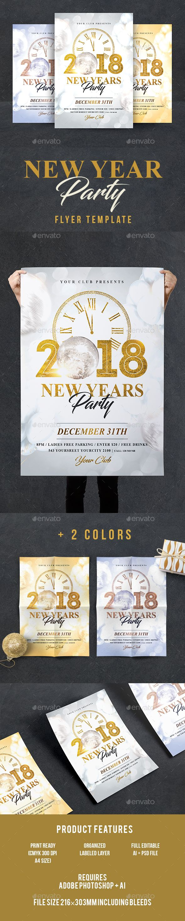 New Year Flyer | Text fonts, Event flyers and Design posters