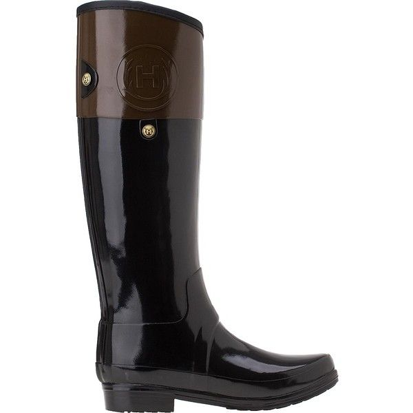 HUNTER Carlyle Rain Boot Milk Chocolate Rubber ($195) ❤ liked on Polyvore  featuring shoes