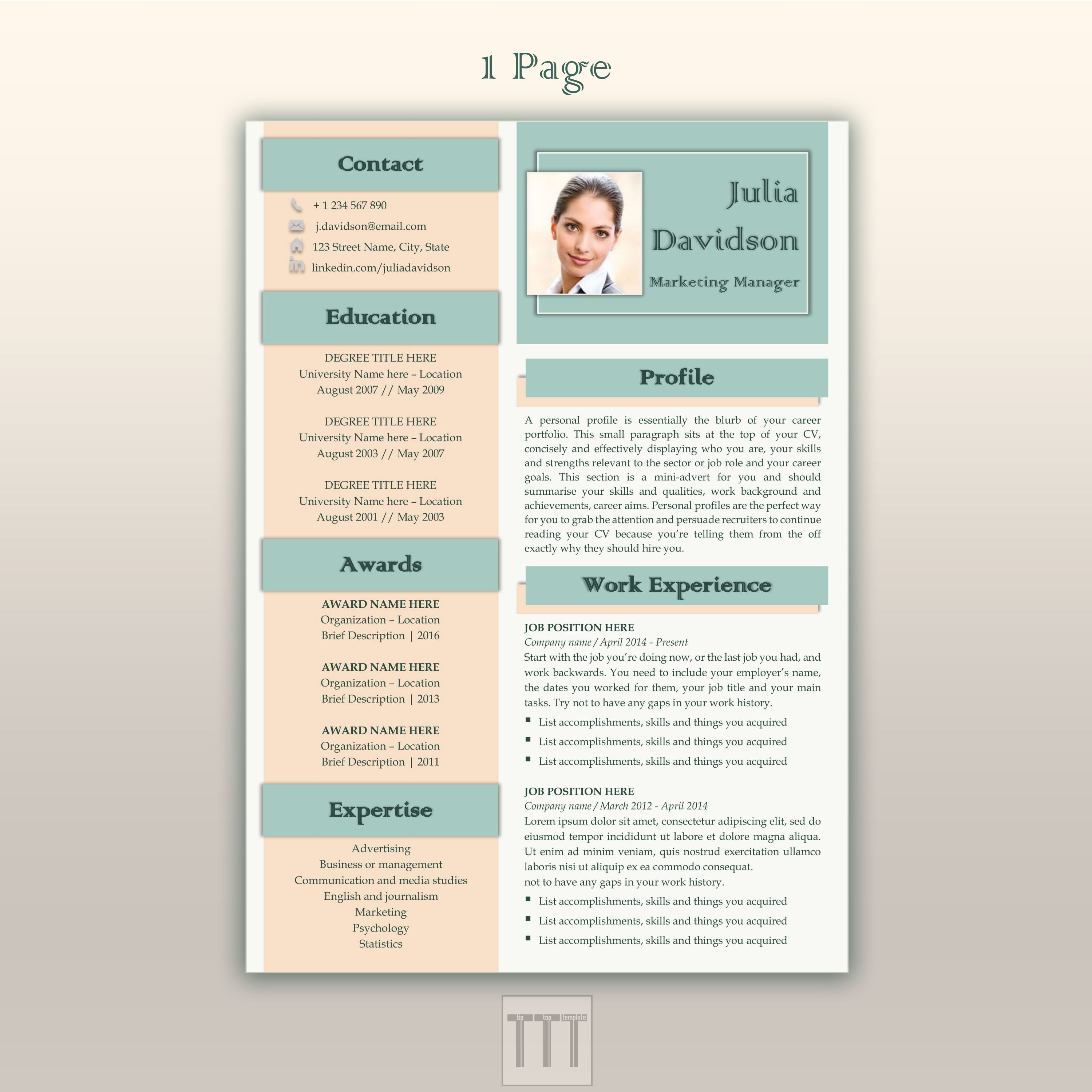 Microsoft Word Resume Template by TipTopTemplate