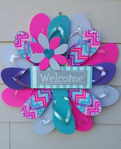 Beautiful Handmade Welcome Flip Flop Wreath By