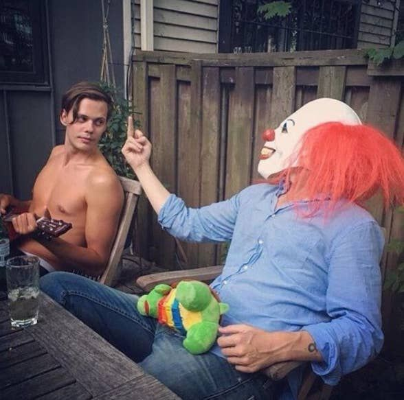 When he hung around, shirtless, just chilling with a creepy clown. 17 Times Bill Skarsgård Was So Effing Perfect You Were Like