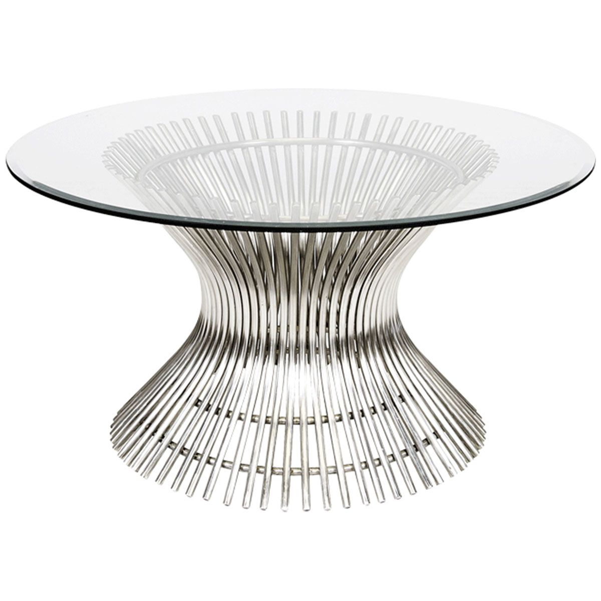 "Worlds Away Polished Stainless Coffee Table with 36""Dia Glass Top POWELL CFSS36"