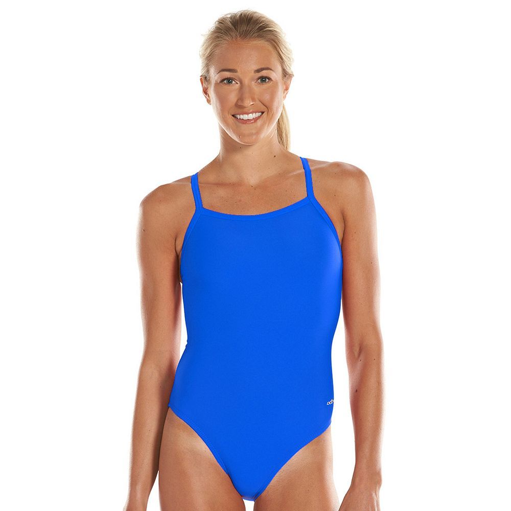 Women's Dolfin Team Solid V-2 Back Competitive One-Piece Swimsuit Black