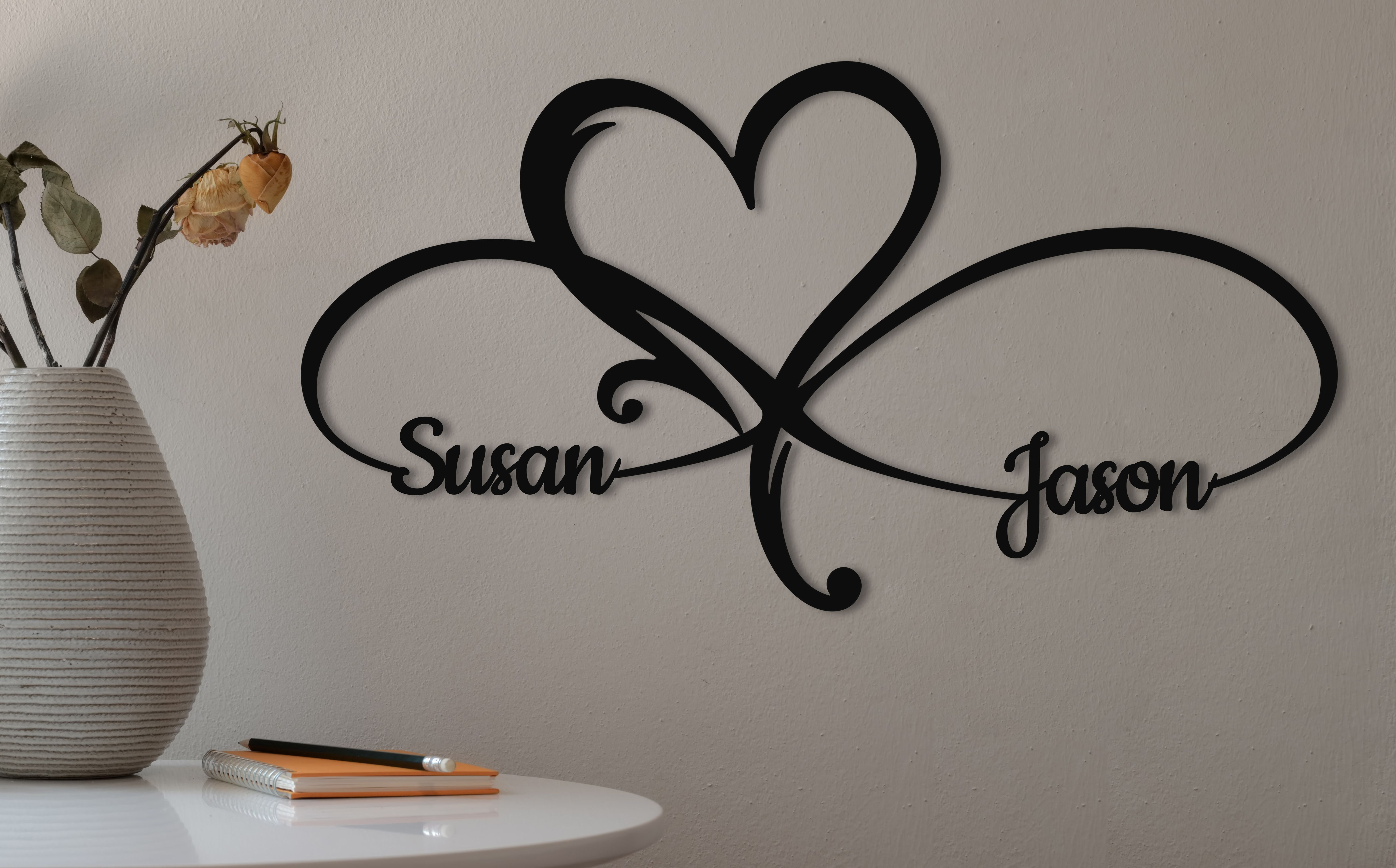 Infinity Heart Wall Decor Personalized Infinity Heart Sign Etsy Wedding Gift Signs Heart Wall Decor Heart Wall