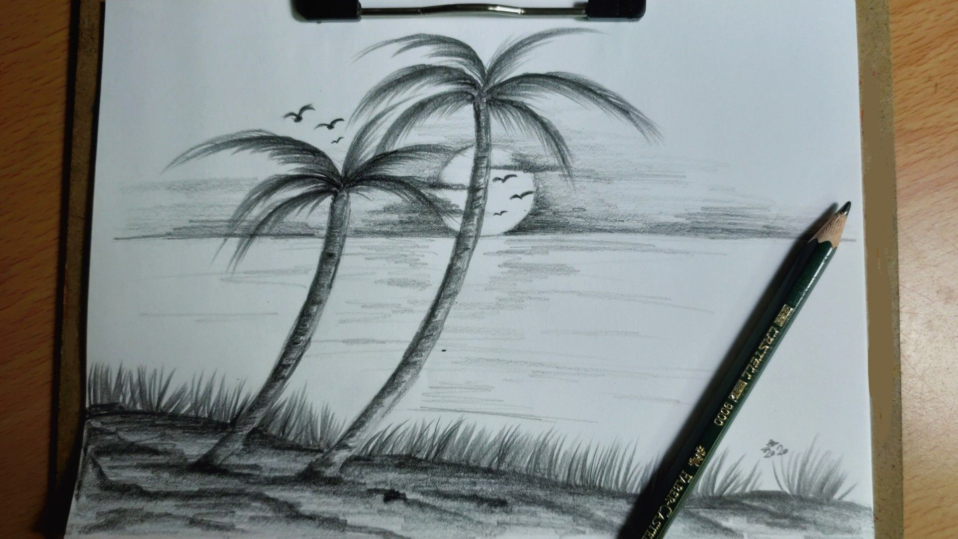رسم مناظر طبيعيه بالرصاص مع الظل والنور Landscape Drawings Pencil Drawings Landscape