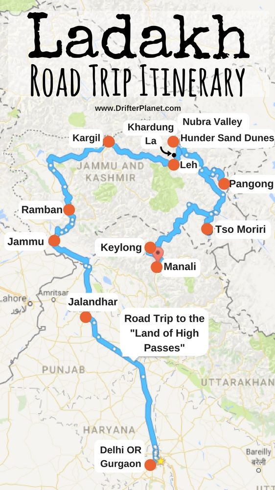 Manali India Map.Ladakh Road Trip Itinerary Map Delhi Gurgaon Jammu Ramban