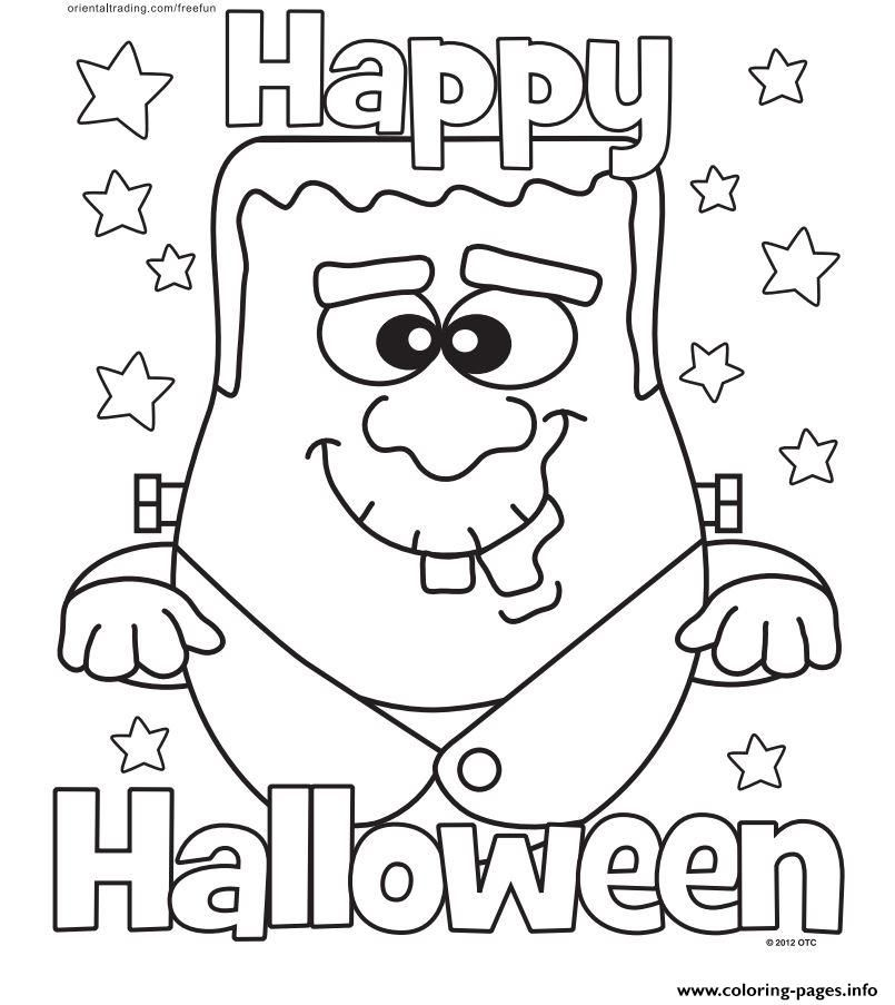 Print Halloween Monster Happy Coloring Pages