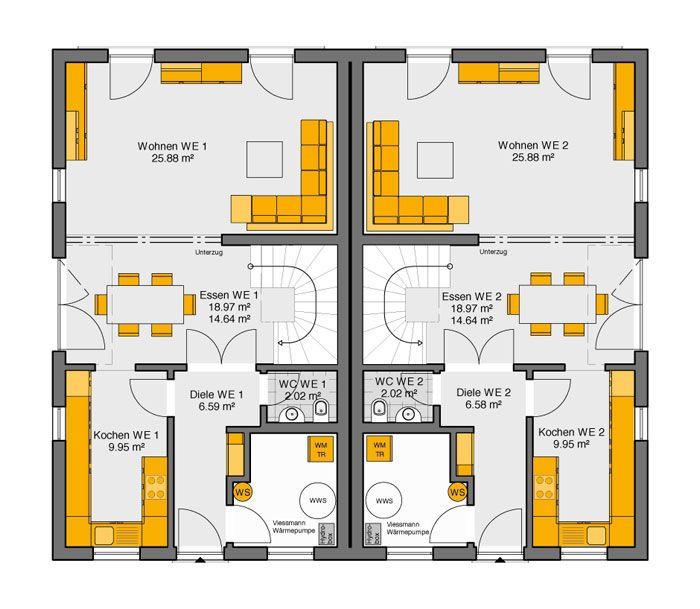 Fertighaus doppelhaus gemello sd 215 grundriss eg for Doppelhaus grundriss modern
