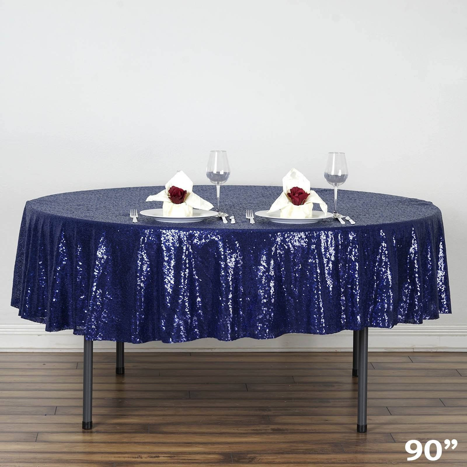 90 Navy Premium Sequin Round Tablecloth Sequin Tablecloth Royal Blue Wedding Decorations Blue Wedding Decorations