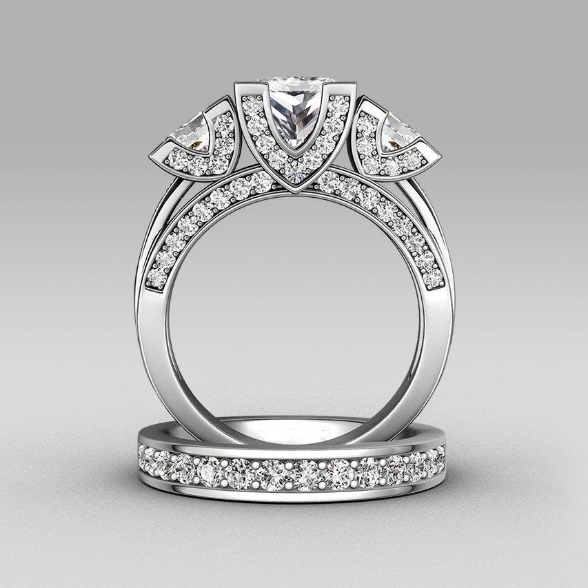 Victoria Wieck Princess cut Threestone 8ct Topaz simulated diamond