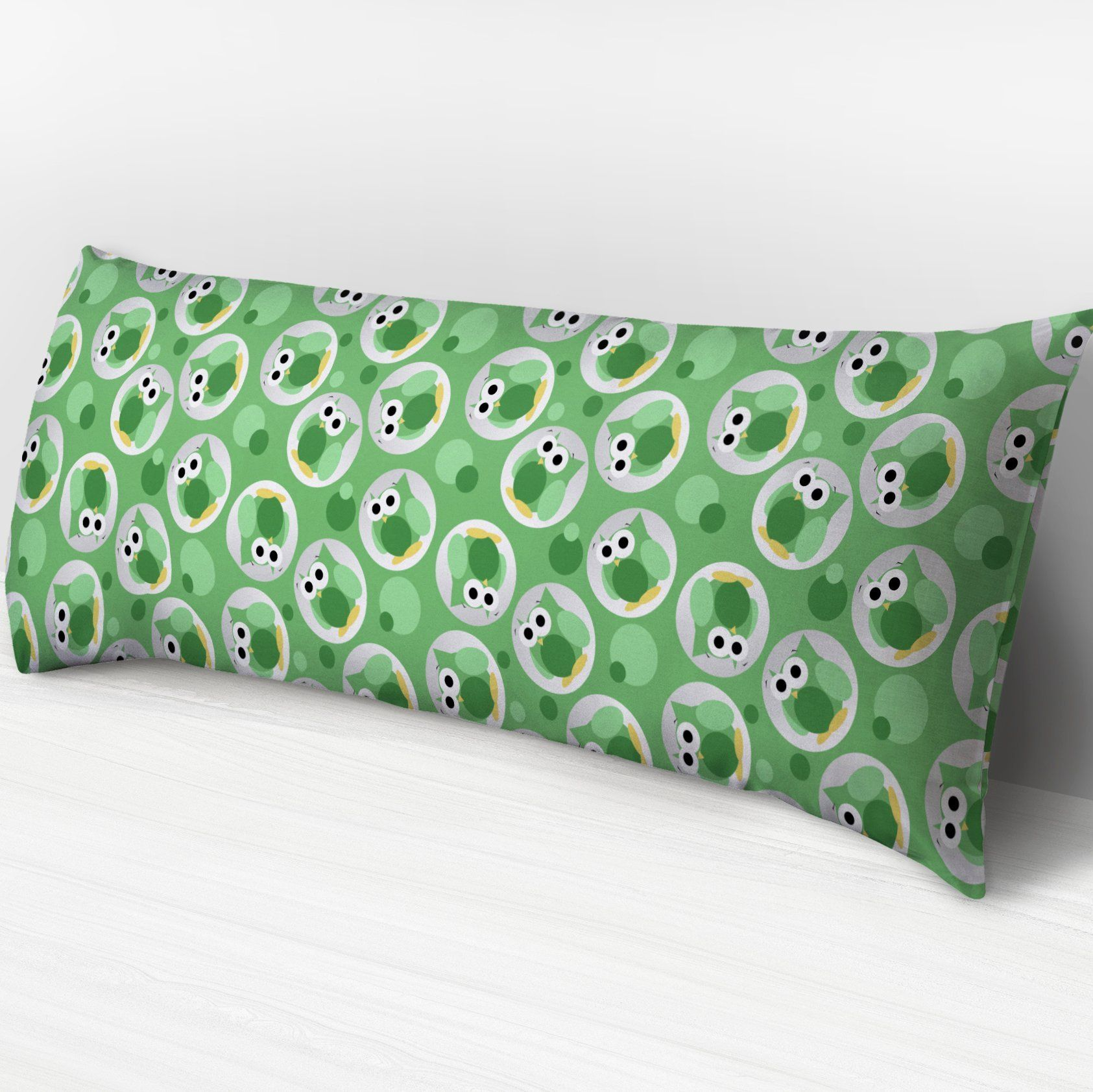 Funny Cute Green Owl Pattern Body Pillow or Cover | Owl patterns ...