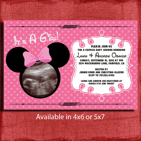 Printable Minnie Inspired Baby Shower 4x6 Or 5x7 Invitation With