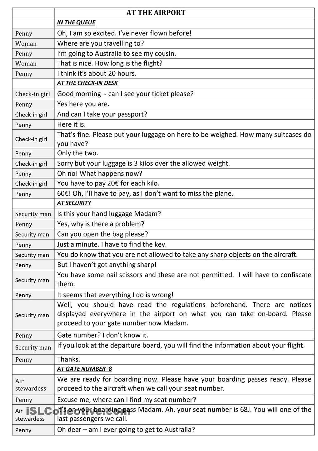 At The Airport | Exercises - English! | Pinterest