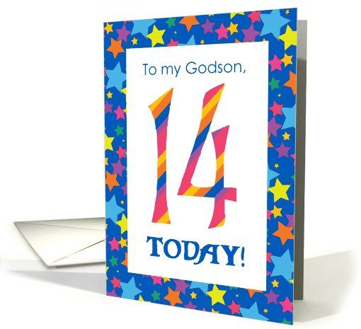 14th Birthday Card For A Godson, Bright Stripes And Stars