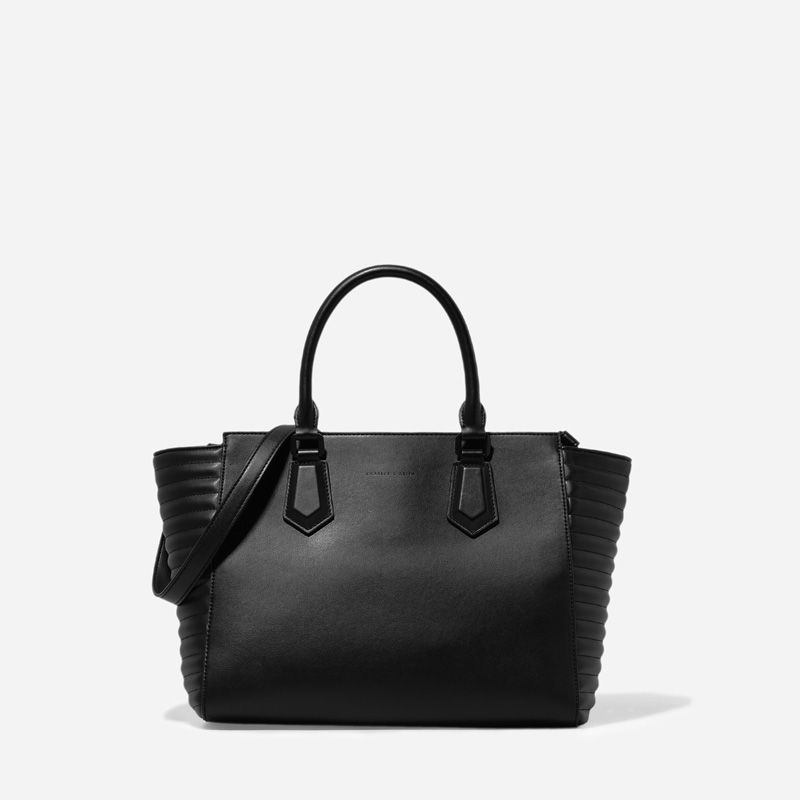 Quilted Panel Handbag - Black - Handbag - Bags | CHARLES & KEITH ...