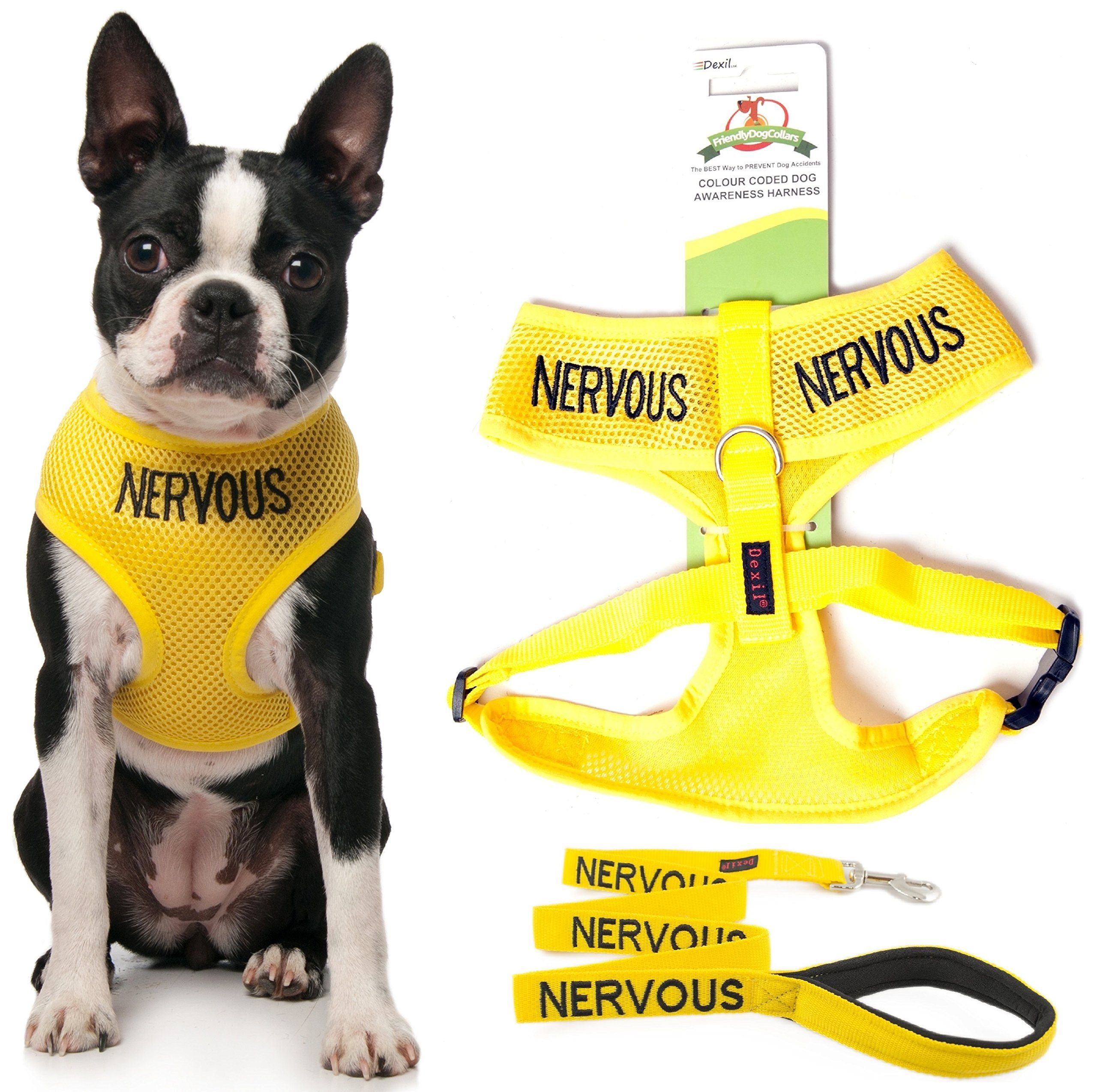 Nervous Yellow Color Coded Medium Vest Dog Harness 4 Foot Leash