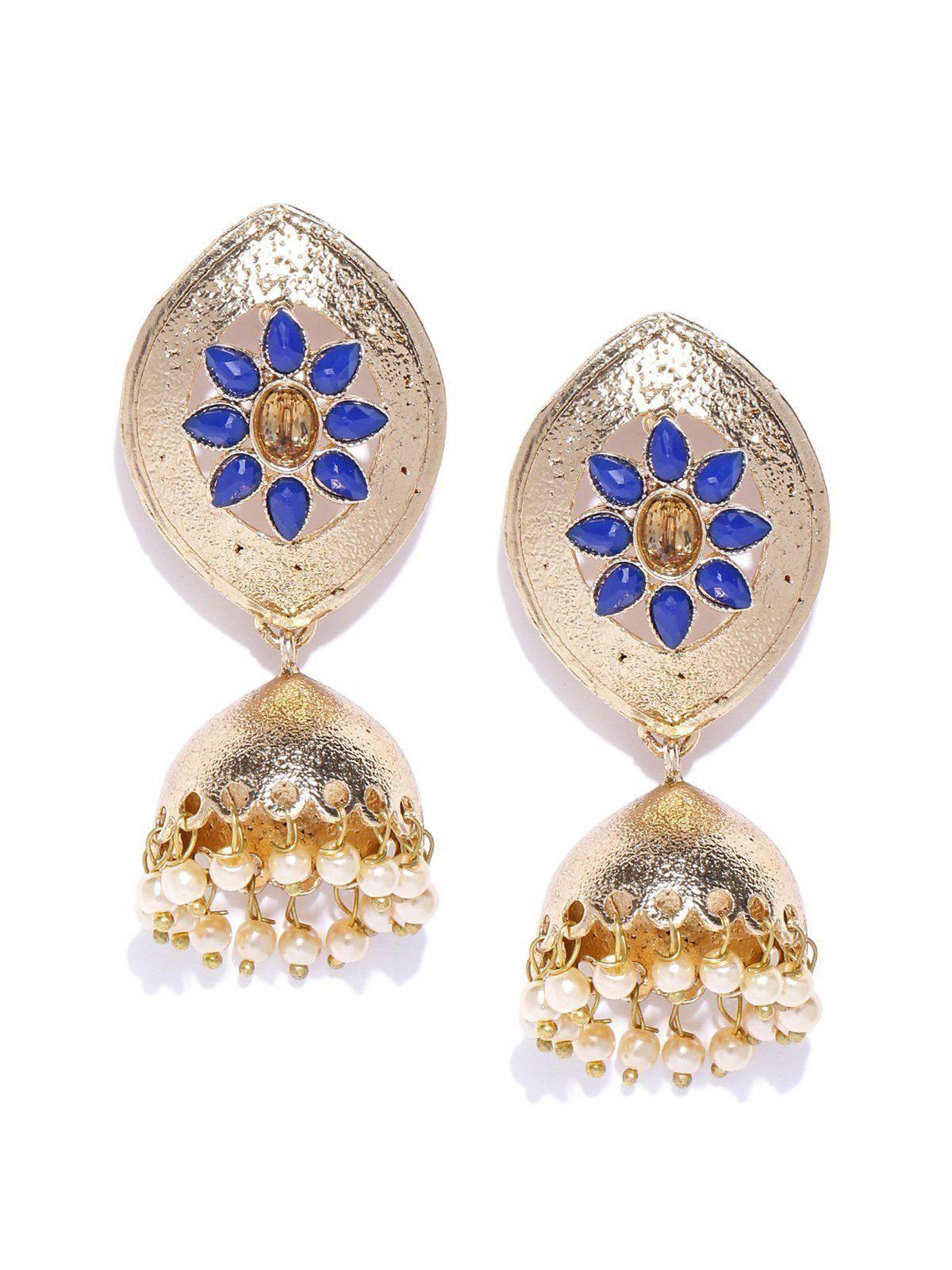 Zaveri pearls gold tone floral jhumki earring zaveri pearls