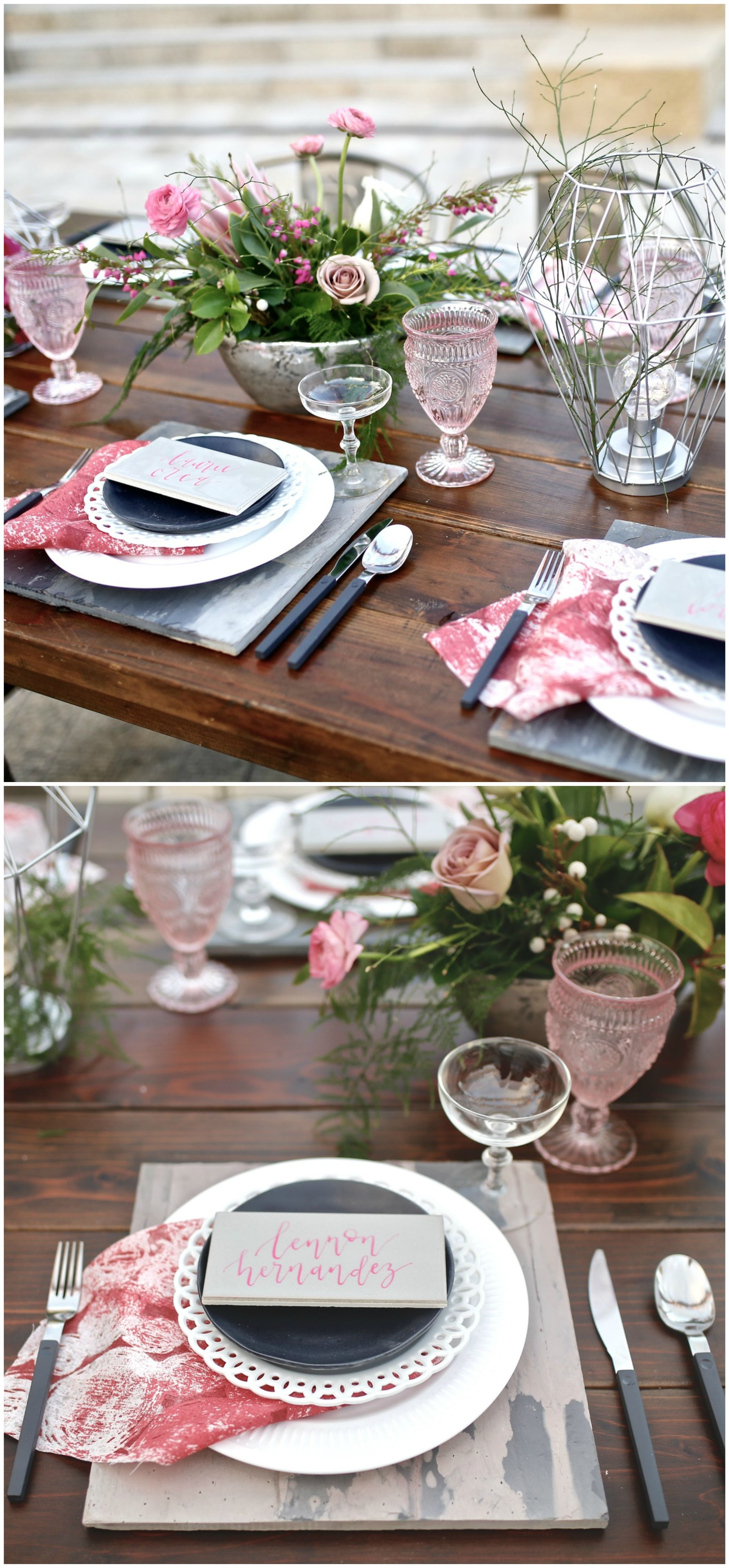 Modern Meets Boho Tablescape, Wedding Place Setting, Black Salad Plates,