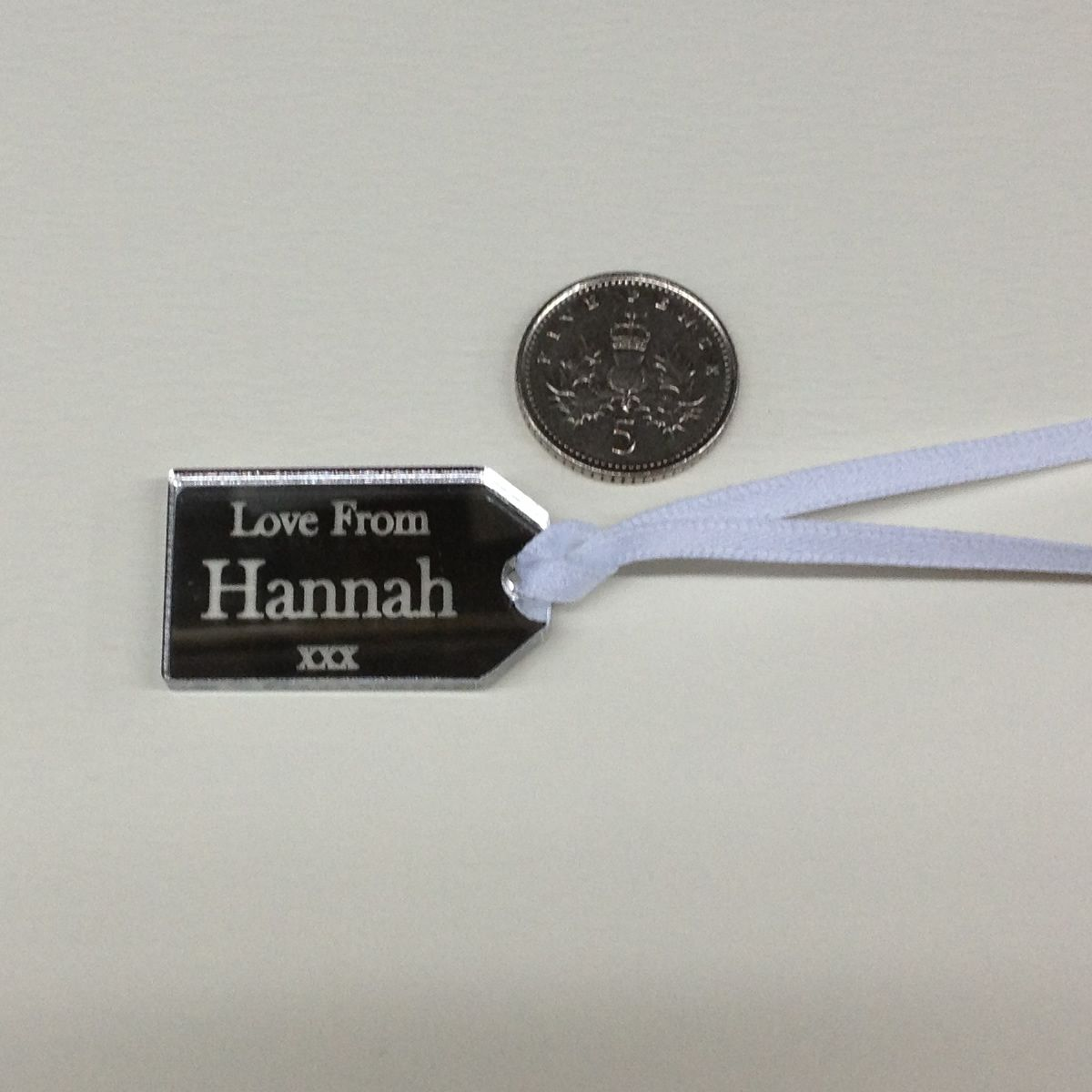 Personalised Mini Gift Tag - Ideal Wedding Favours in Silver Mirror ...