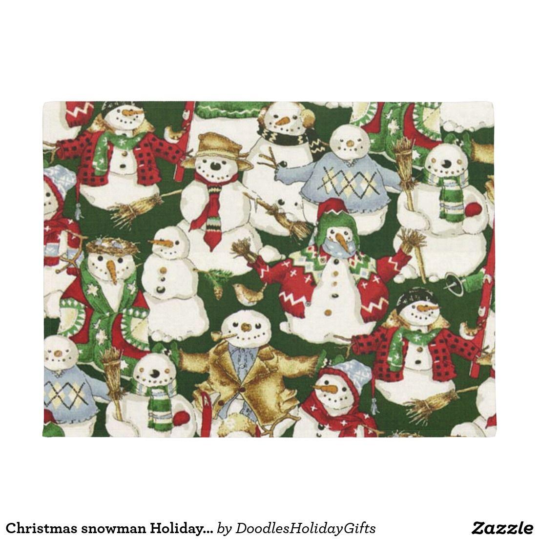 Christmas Snowman Holiday Door Mat Doormat