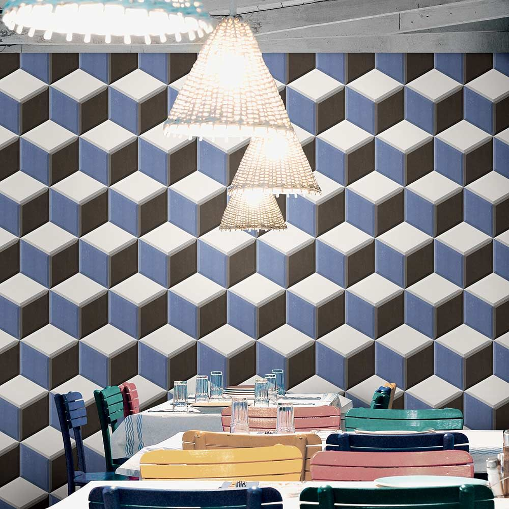 A hexagonal geometric feature wall in a dining room using 3d a hexagonal geometric feature wall in a dining room using 3d hexagon tiles dailygadgetfo Image collections