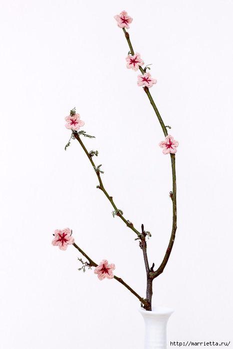 Цветущая вишня крючком. Декоративные веточки (7) (466x700, 106Kb ...