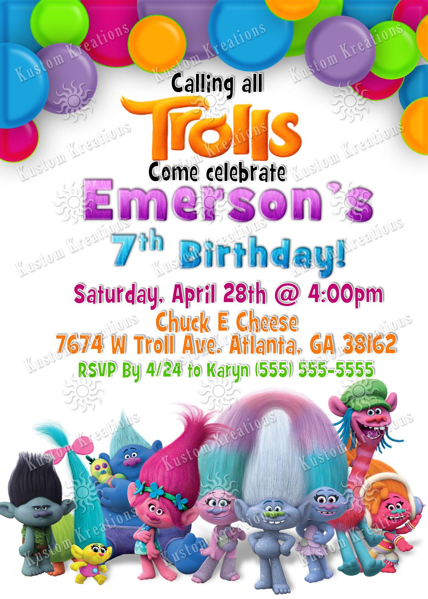 birthday invitations trolls birthday party