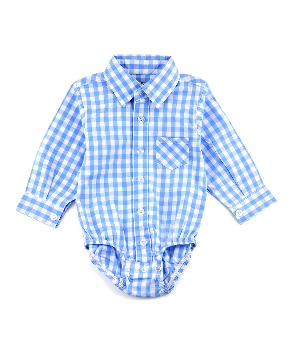 Take a look at this littlest prince couture blue gingham dress shirt