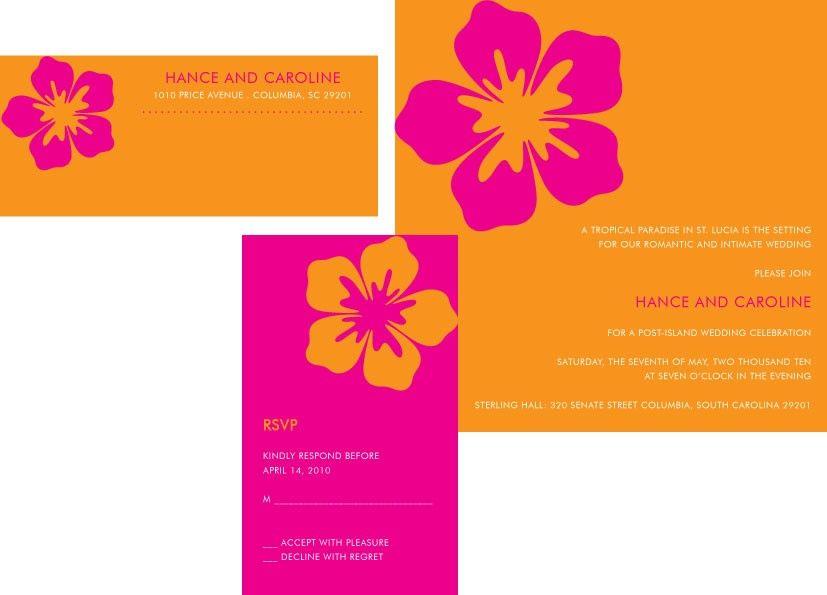 Orange And Pink Wedding Invites