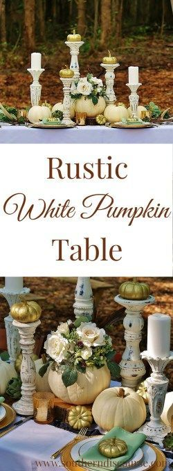 Rustic White Pumpkin Table images