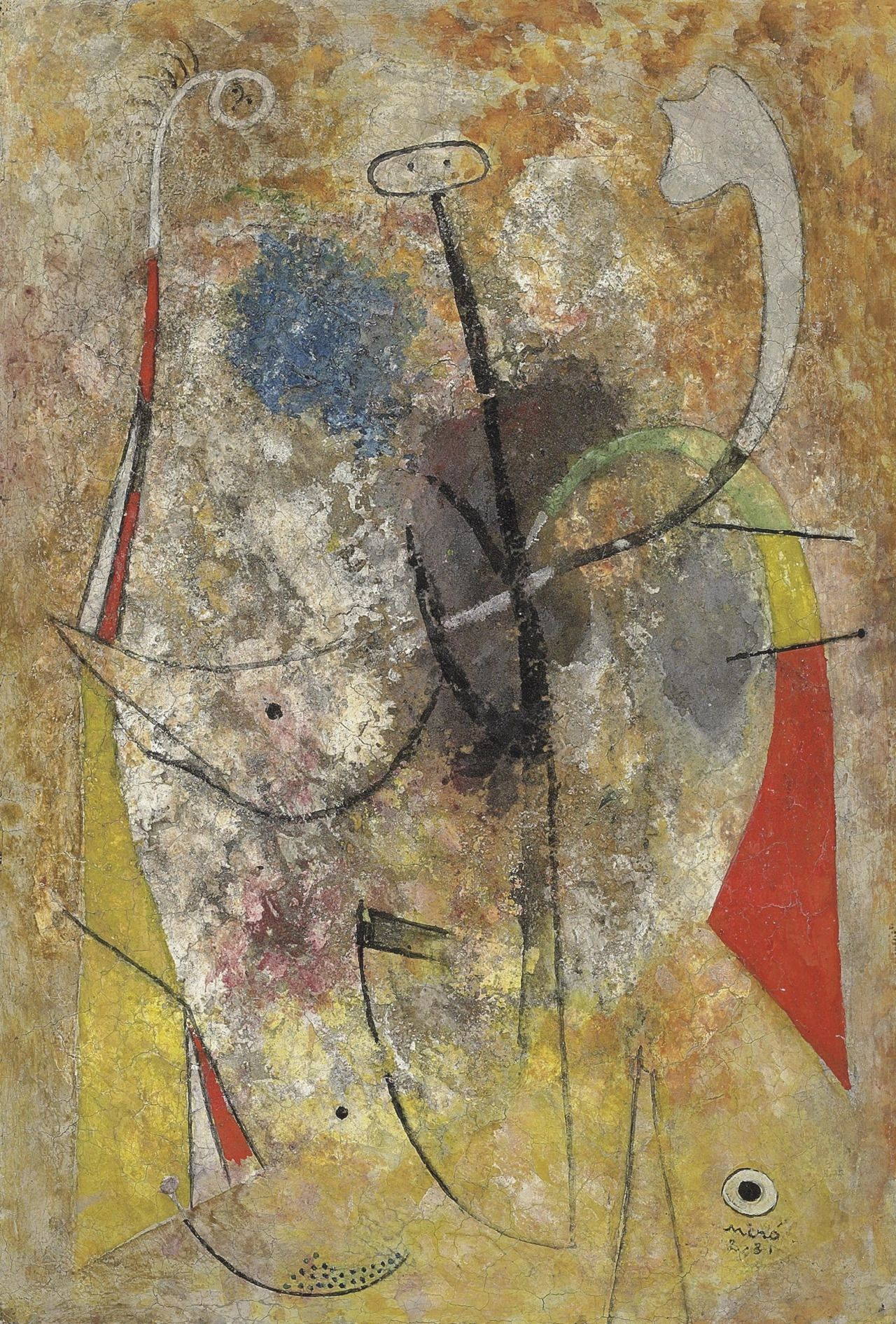Joan Miró (1893-1983) Femmes, homme (February 1931)oil and sand on canvas 35 x 24 cm