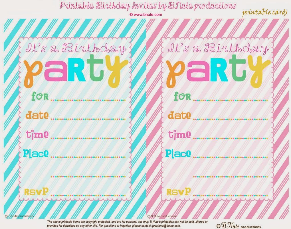 Free Printable Striped Birthday Party Invitation From BNute Productions Its No Fair That The Dolls At Their Doll Have All F