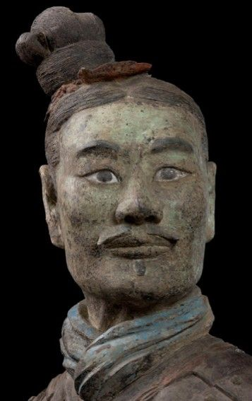 Armored kneeling Archer (detail) 鎧甲跪射俑 Qin dynasty (221–206 BCE) Terracotta Qin Shihuang Terracotta Warriors and Horses Museum