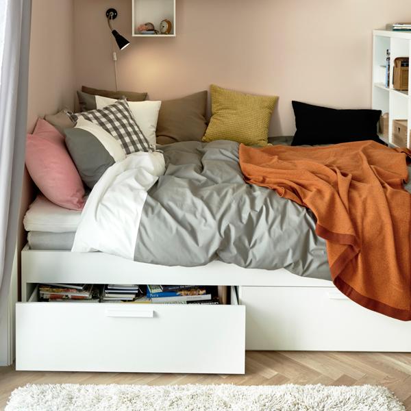 Brimnes estrutura cama c arruma o branco ikea camas e for Cama brimnes