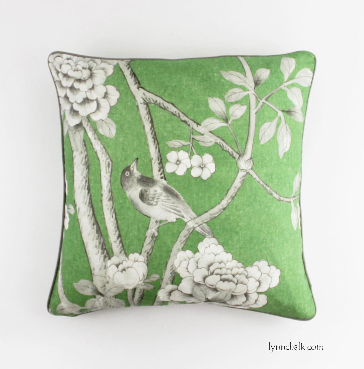 Schumacher mary mcdonald chinois palais pillows in lettuce wgrey