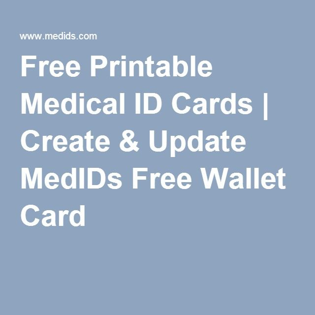 Free Printable Medical Id Cards  Create  Update Medids Free