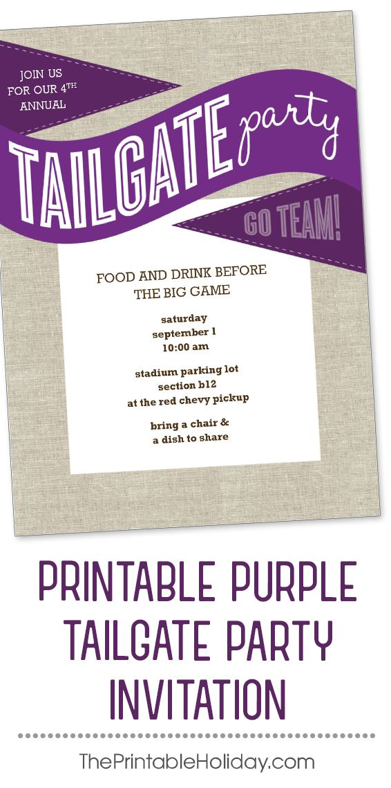 This tailgate invitation template features purple flags against a - fresh invitation template simple
