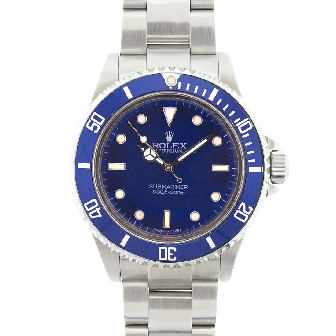 Rolex Stainless Steel Non Date Submariner With Blue Dial Blue Bezel Model 14060m Rolex Rolex Watches For Men Rolex Watches Submariner