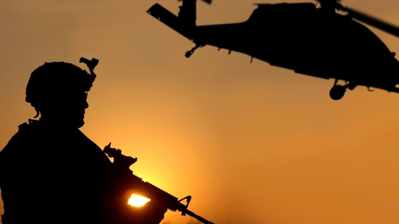 Silhouette Photography Wallpapers Silhouette Soldier Helicopter