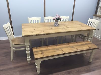 Farmhouse Shabby Chic Rustic 6ft Dining Table Chairs Bench Oak