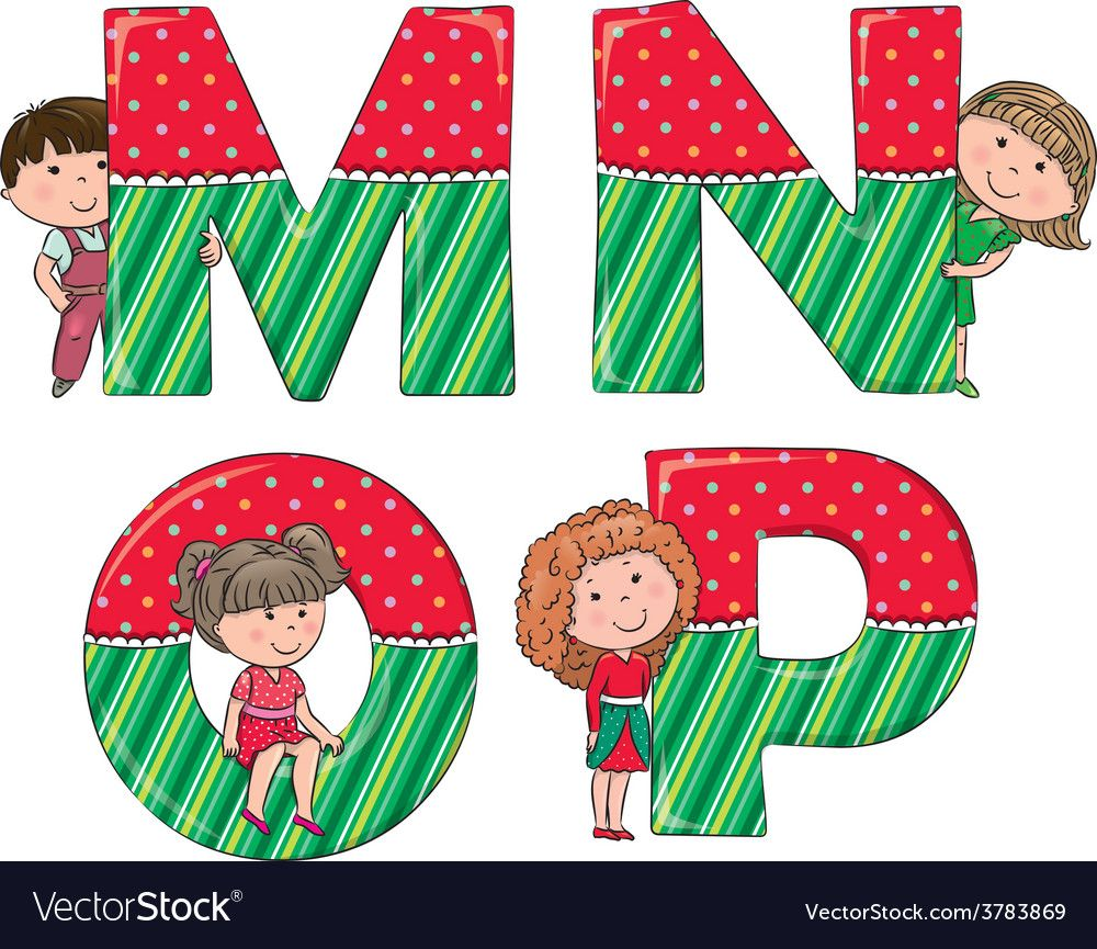 Alphabet kids MNOP vector image on VectorStock