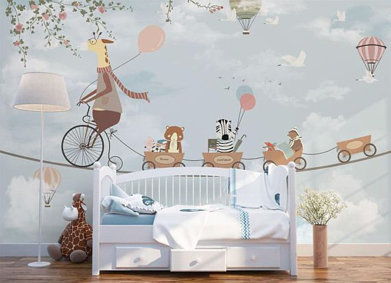 Mr Giraffe Baby Nursery Wallpaper Removable Wall Mural Kids