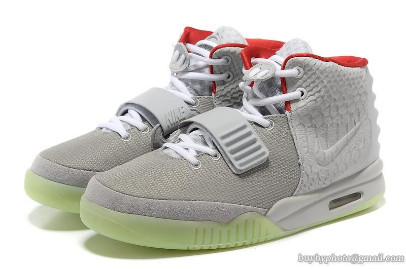 NIKE AIR YEEZY 2 Yeezy II NRG KANYE WEST Basketball Shoes Gray/Red Green  Bottom