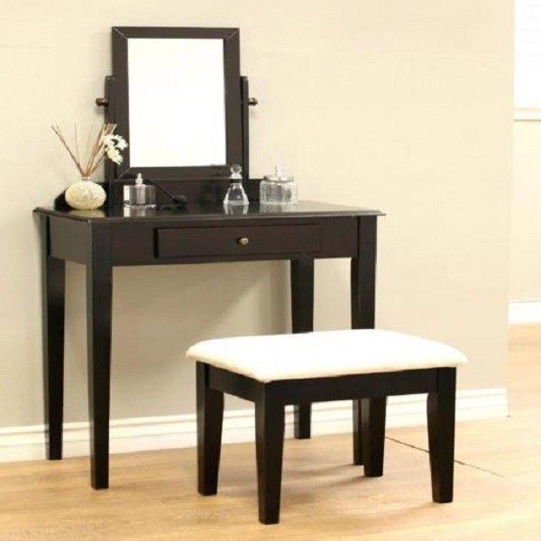 Bedroom Makeup Vanity Table Set Mirror Stool Modern Dressing Desk ...